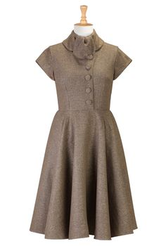 1950s , 1960s, 50s style, 60s style, acrylic, below-knee-length, borrowed-from-the-boys, cap-sleeve, cotton-blend, day-to-evening, festival, fifties-style, fit-and-flare-dresses, heavyweight, herringbone, high-collar, lined, pockets, roll-collar, shine, sixties-style, thanksgiving, zip,dresses