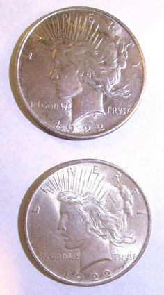 2 - USA PEACE SILVER DOLLARS 1922 LIBERTY HEAD LEFT EAGLE FACING RIGHT PERCHED