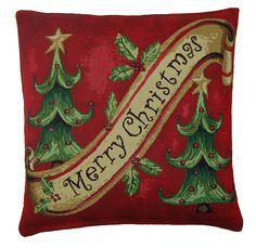 Traditional Trees Woven Christmas Cushion Cover 45x45cm (18inch approx) Multi