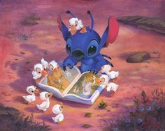 """Ohana Means Family"" by James C. Mulligan - Original Acrylic on Canvas, 16 x 20. #Disney #DisneyFineArt #Stitch #JamesCMulligan"