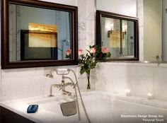traditional bathroom by Electronics Design Group, Inc. Fireplace Bookcase, Tv In Bathroom, Custom Mirrors, Traditional Bathroom, House Rooms, Built Ins, My Dream Home, Furniture