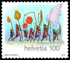 Swiss special stamp: 150th birthday of Ernst Kreidolf - 2013