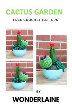 Crochet Cactus Garden Pattern. Fun and easy to do.