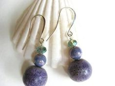 Purple Sponge Coral Earrings Lavender Czech Glass One by MindOfAsh