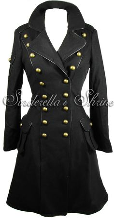 HELL BUNNY ~IMMa~ 1940's Military Steampunk Black Wool Corseted Frock Coat 6-16 | eBay