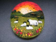Handmade needle felted brooch/Gift 'As the sun sets' by Tracey Dunn Needle Felted Animals, Felt Animals, Diy And Crafts, Arts And Crafts, Felt Coasters, Felt Gifts, Felt Pictures, Needle Felting Tutorials, Felt Embroidery