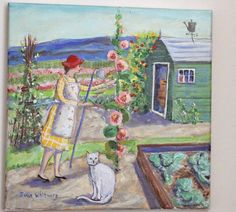 Julie Whitmore Pottery | cat and lady in garden with hollyhocks