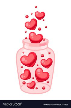 Valentines day jar filled with hearts Royalty Free Vector , Valentines Day Drawing, Saint Valentine, Valentine Day Crafts, Happy Valentines Day, Valentines Illustration, Valentines Greetings, Valentine Cookies, Copics, Cute Drawings