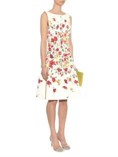 Oscar De La Renta Floral-print textured cotton dress