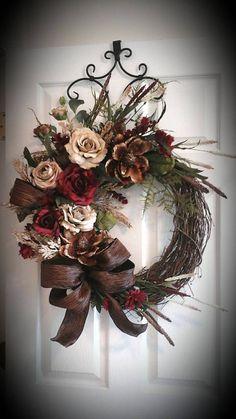 Grapevine Wreath Elegant Designer Summer by GiftsByWhatABeautifu Wreath Crafts, Diy Wreath, Door Wreaths, Grapevine Wreath, Wreath Ideas, Rustic Wreaths, Ribbon Wreaths, Tulle Wreath, Floral Wreaths