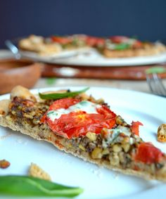 Middle Eastern Pizza with a Minted Tahini Sauce #glutenfreevegan