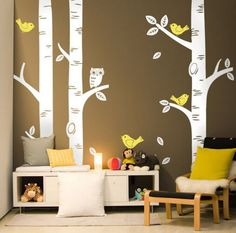 Nursery Large Birch Trees Wall Decals With Birds And Owl On Their Branches You May