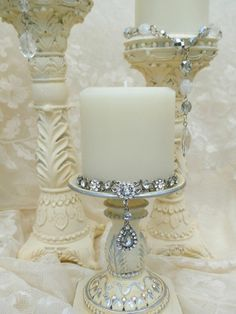 cream wedding candle holders