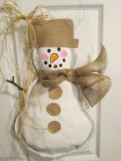 READY TO SHIP Full Body Snowman Burlap Door Hanger Winter Burlap Scarf