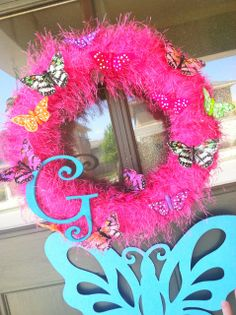 Wreath at a Butterfly Party #butterfly #partywreath