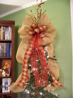 Christmas tree topper - burlap & plaid ribbon