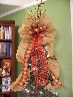 Christmas tree topper - burlap & plaid ribbon
