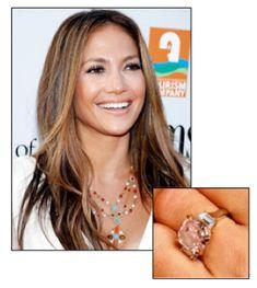 Alternate Gemstones For The Modern Engagement Ring - Hammer + Gem. J. Lo and her pink diamond engagement ring.