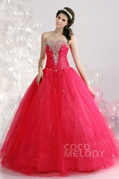 682bebd8ad9   USD  199   Sweet Ball Gown Sweetheart Floor Length Tulle Red Quinceanera  Dress COUF13005