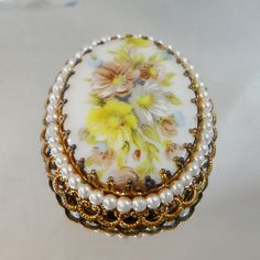 Vintage Brooch Porcelain Flower Cameo with Faux Pearls by waalaa, $29.99