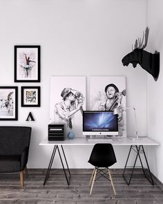 Modern Workspace  :: iMac - Beautiful Artwork, Moose Head Sculpture, Flooring