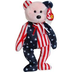 Pink Face Spangle the Stars & Stripes Patriotic Teddy Bear -