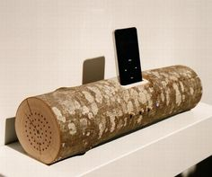 Wood log iPhone dock