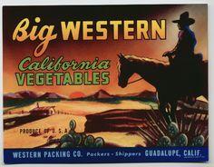 GENUINE FRUIT CRATE LABEL VINTAGE 40S CALIFORNIA HORSESHOE EQUESTRIAN LOS BANOS