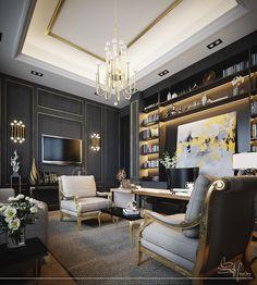 צבעים ואוירה במרתף + חדר שינה קירות בצבע כחול אפור + קרניזים מוזהבים או חיפוי עץ