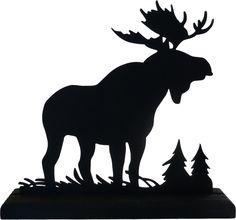 moose silhouette | Majestic Moose Hand-cut Wood Decorative Display Silhouette sawn001