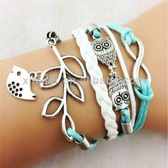 Fashion owl bracelet leaf bird woven bracelets #About_Friendship, #Posts