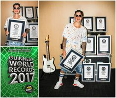 Justin Bieber & the new #GWR2017 book with a set of 8 record titles #MusicMonday #MondayMotivation https://bizboo.st #BIZBoost