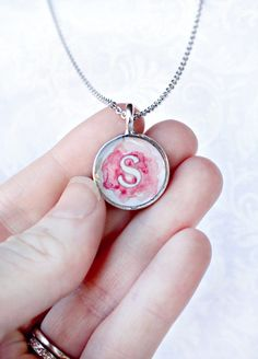 Perfect for bridesmaids! Personalized Watercolor Blot Monogram Pendant Necklace ... www.sarahlambertc...