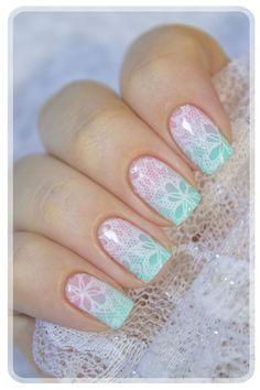 Make an original manicure for Valentine's Day - My Nails Nail Art Designs, Lace Nail Design, Pretty Nail Designs, Lace Nails, Lace Nail Art, Nagellack Trends, Stamping Nail Art, Moyou Stamping, Nail Stamping Designs