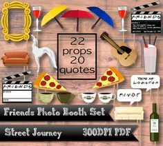 Invite your friends over to make memories! This photo booth set is inspired from the Friends tv show that we all know and love. Each piece of the set is fan art that I created. You will get: 22 Props: -Gold Frame -Milkshake to share with friends -Orange couch -Yellow Umbrella -Red