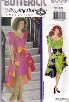 1990 Sewing Pattern Waterfall Hem cocktail dress ruffle pencil puff sleeves pink orange green black polka dot late 80s early 90s vintage fashion style sheath evening wear Prom or by allthepreciousthings,