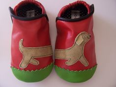 Pink and Green and Woof! Baby Shoes .