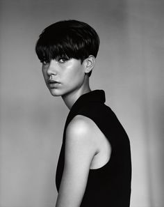 Bring line up to eyebrow all around head - except choppy bangs. Undercut around ears; up the back
