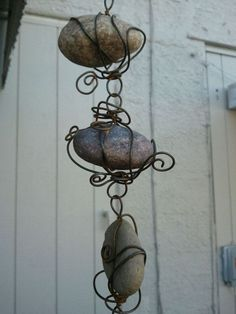 beach+rain+chains+ | All Natural Stone and Rusted Wire RAIN CHAIN by AnnsFlowersMiami