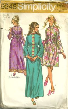 1970s Simplicity 9248 Misses Zip Front Hostess Robe by mbchills, womens vintage sewing pattern