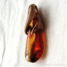 Hand carved wooden pendant with beautiful cognac natural baltic amber Unique Jewelry