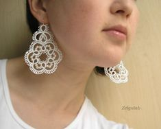 Wedding tatted Earrings with 925 Sterling Silver earwires, Bridal white handmade lace earrings,tatting,frivolite