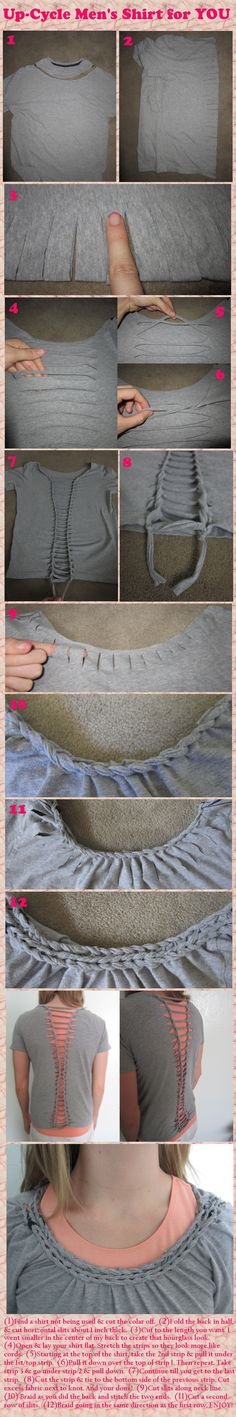 #DIY #Mens #shirt up #cycled to womens braided back and colar shirt or work out top