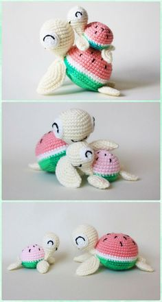 Amigurumi Watermelon Turtle Free Pattern - Patrones libres de animales de mar de ganchillo