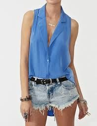 Cool Periwinkle shirt suits denim shorts very well! #ghdpastels