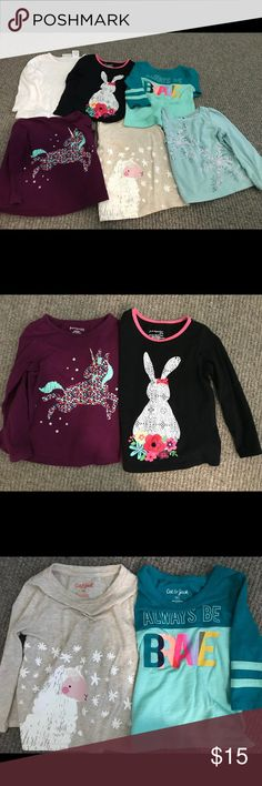 Girl's Long Sleeve T-shirt Bundle (unicorn, llama) Girl's Long Sleeve T-shirt Bundle (unicorn, llama, bunny & more). All shirts are size 18 months. A nice variety of long sleeve Tees in EUC (except for name written inside the blue snowflake shirt; shown in pic). Brands: Cat & Jack, First Impression Play & Cherokee) *Always be brave shirt is 3/4 sleeves First Impressions Shirts & Tops Tees - Long Sleeve