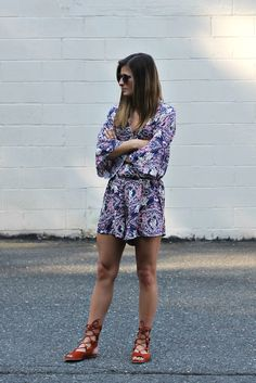 Paisley Print | #DatGirl paisley print romper, #Chloe suede gladiator sandals, summer outfit ideas, romper, nyc street style, fashion blogger #tobebright