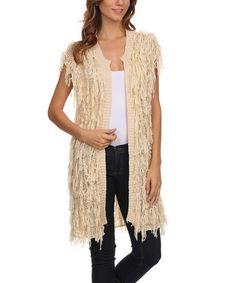 Look at this #zulilyfind! Lady's World Beige Fringe Open Vest - Plus Too by Lady's World #zulilyfinds