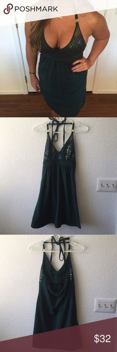Victoria Secret forest green sparkle dress Never been worn. Dress has built in bra w lining Victoria's Secret Dresses Mini