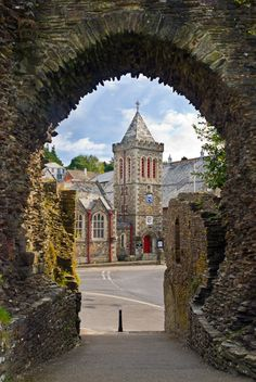 Launceston Town Hall from Castle, Cornwall, England